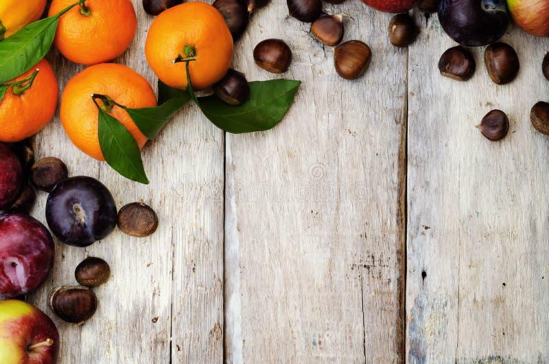 果子 蜜桔、李子、南瓜、苹果和栗子 免版税库存照片