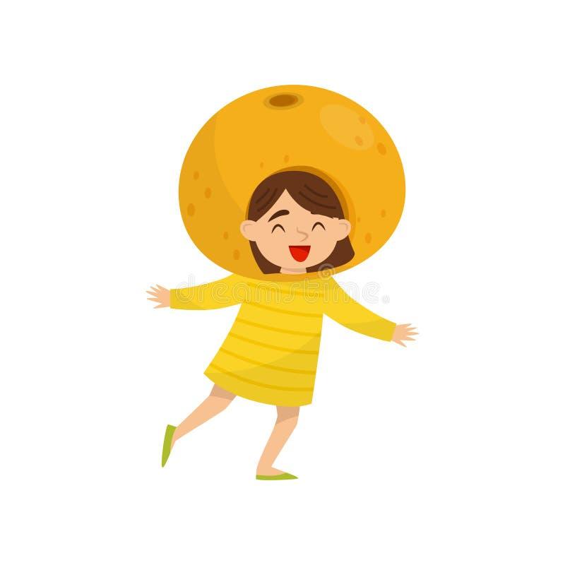 果子headwear的可爱的小女孩 橙色服装 幼儿园题材 平的传染媒介设计 皇族释放例证