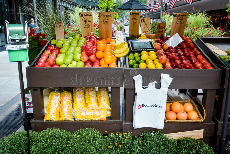 水果摊-波士顿,美国 库存照片