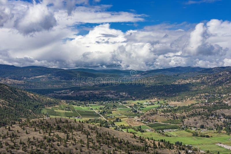 果树园葡萄园和famland从巨人在Summerland不列颠哥伦比亚省加拿大附近朝向山 免版税库存照片