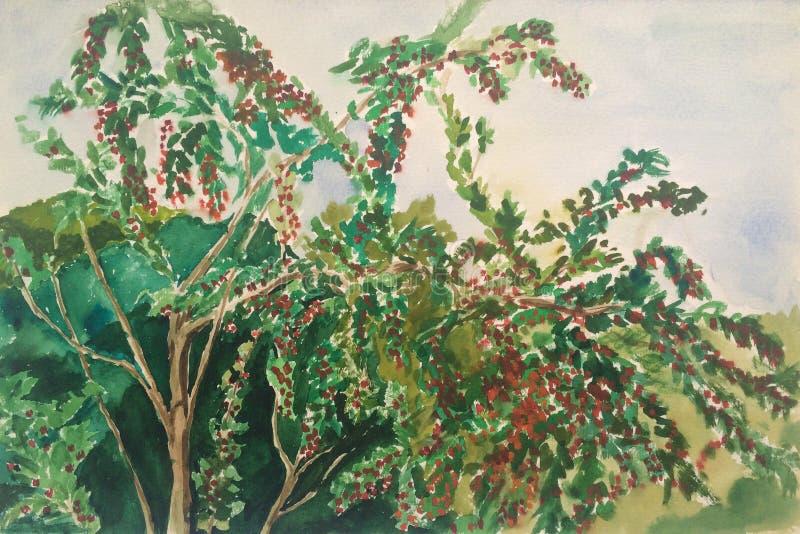果树的水彩图画 皇族释放例证