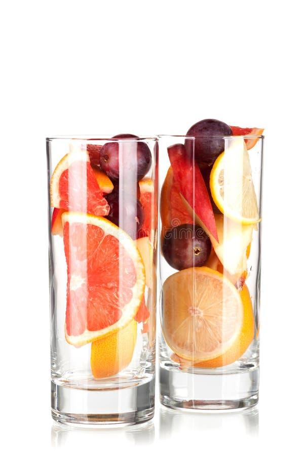 果汁喷趣酒刷新的桑格里酒 图库摄影