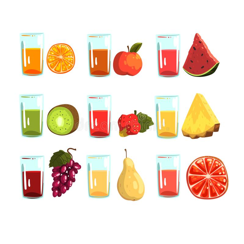 果汁设置了,桔子,苹果,西瓜,猕猴桃 草莓,菠萝,葡萄,梨,葡萄柚,为a喝 皇族释放例证
