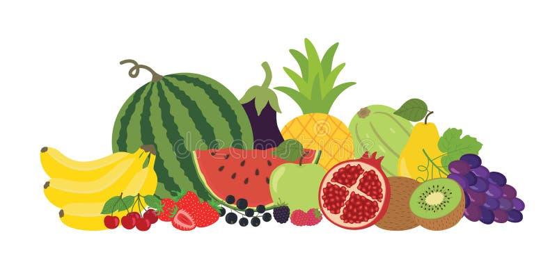 果菜类莓果静物画 向量例证