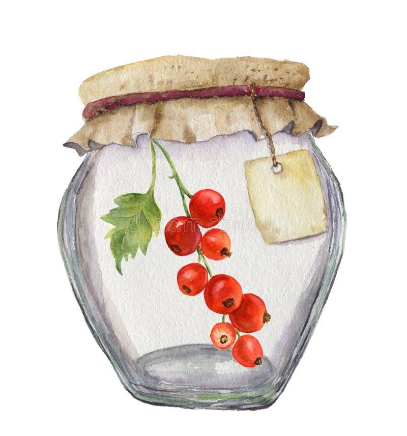 果酱的水彩玻璃瓶子与题字和红醋栗的标签 背景钝齿轮例证查出的白色 对设计, 向量例证