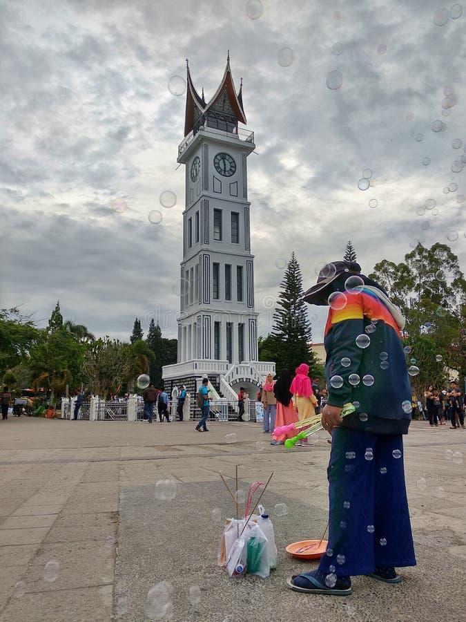 果酱Gadang与泡影的钟楼 库存照片