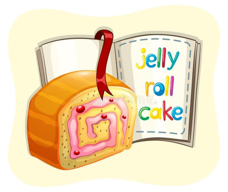 果冻卷蛋糕和书 库存例证