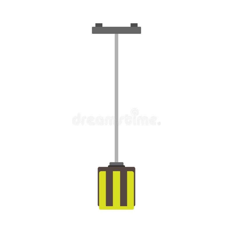 枝形吊灯样式装饰发光的豪华灯特写镜头夜传染媒介象 内部设备平的地板家具色泽 向量例证