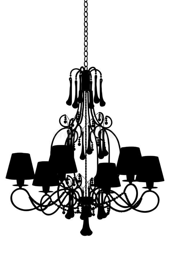 枝形吊灯豪华剪影 向量例证