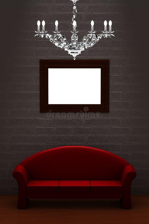 枝形吊灯长沙发空的框架豪华红色 向量例证