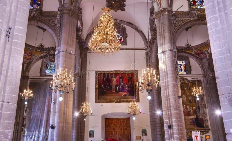 枝形吊灯马赛克老大教堂瓜达卢佩河墨西哥城墨西哥 免版税库存照片