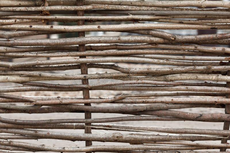 枝杈木纹理板条篱芭  免版税库存照片
