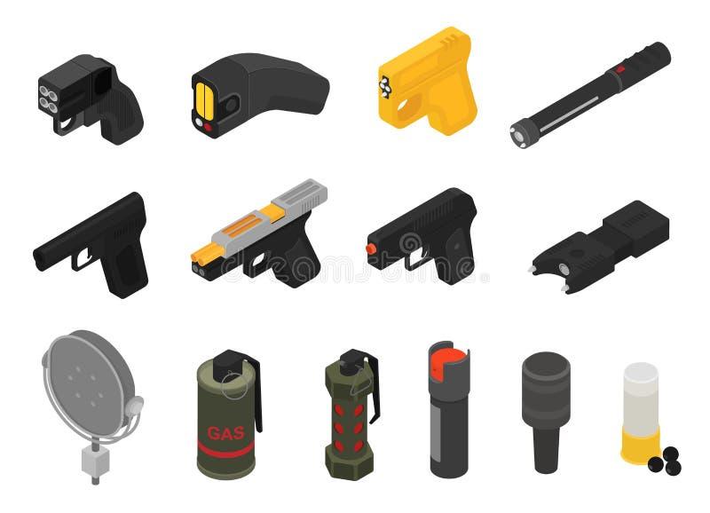 枪传染媒介军用不致命的武器手榴弹枪军队手枪和战争自动手枪有子弹例证套的  皇族释放例证