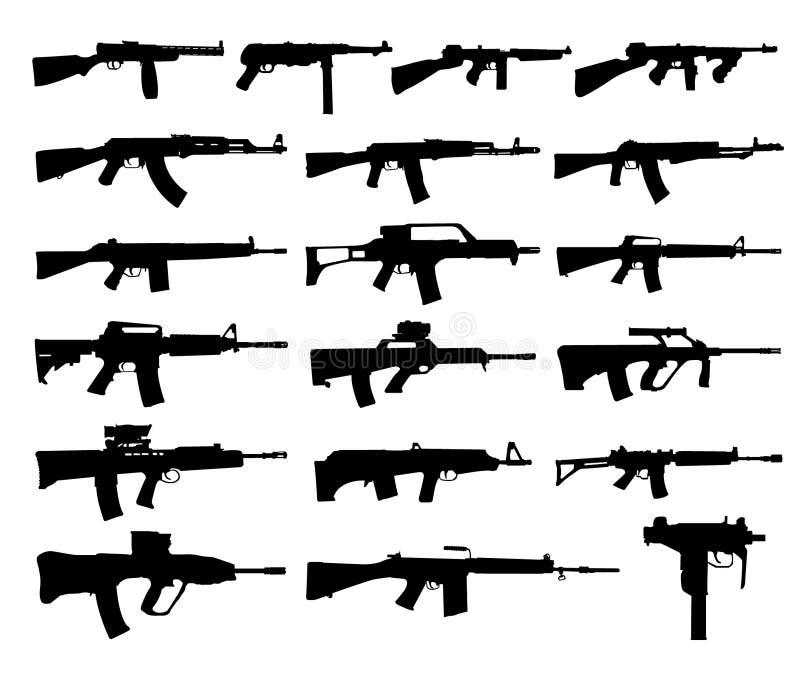 枪剪影 库存例证