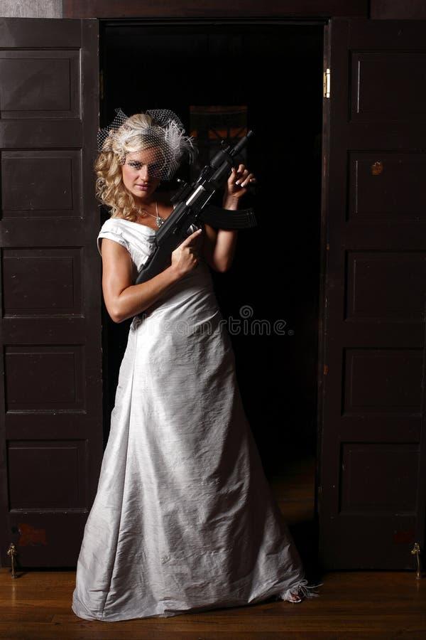 枪妇女 库存图片