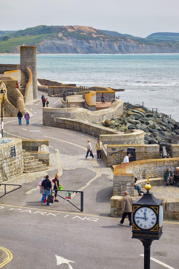 枪峭壁步行 Lyme regis 英国 免版税图库摄影