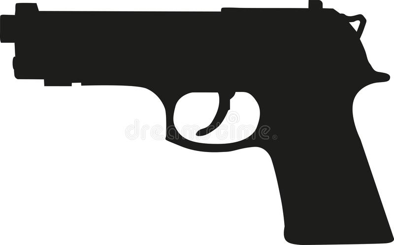 枪手枪剪影 向量例证