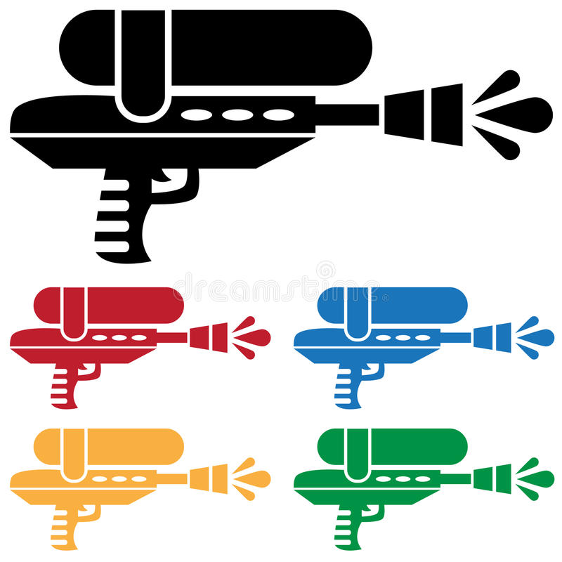 枪被设置的水 库存例证