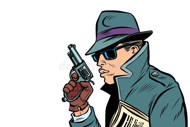枪间谍,侦探 库存例证