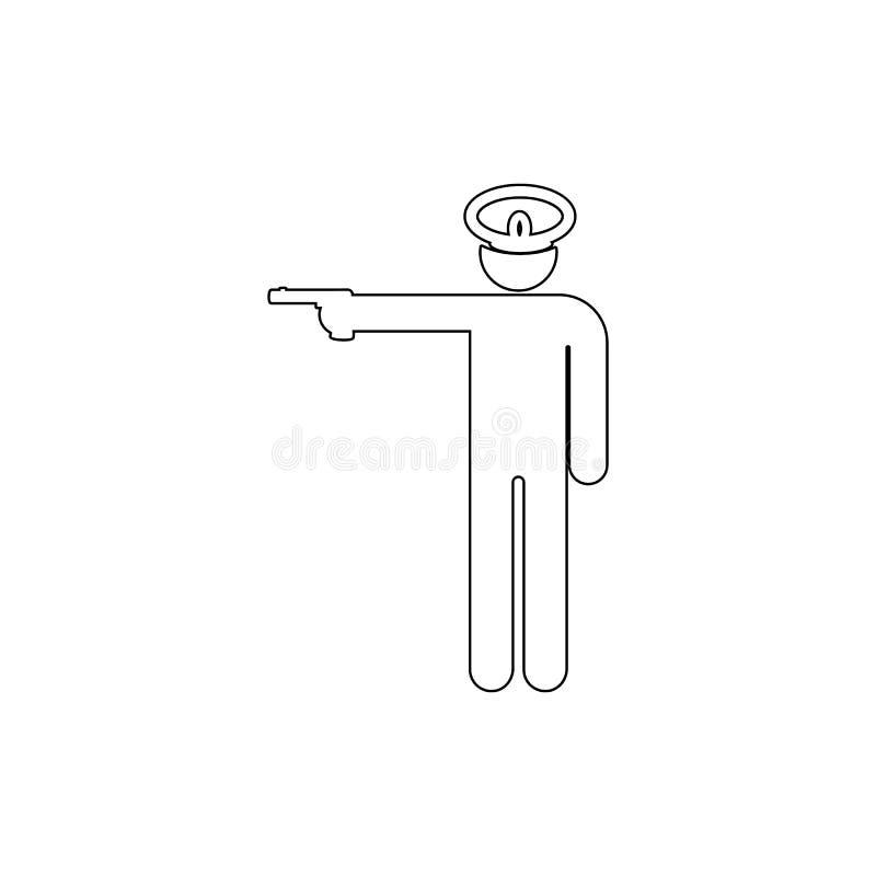 枪,军事概述象上尉, E 库存例证