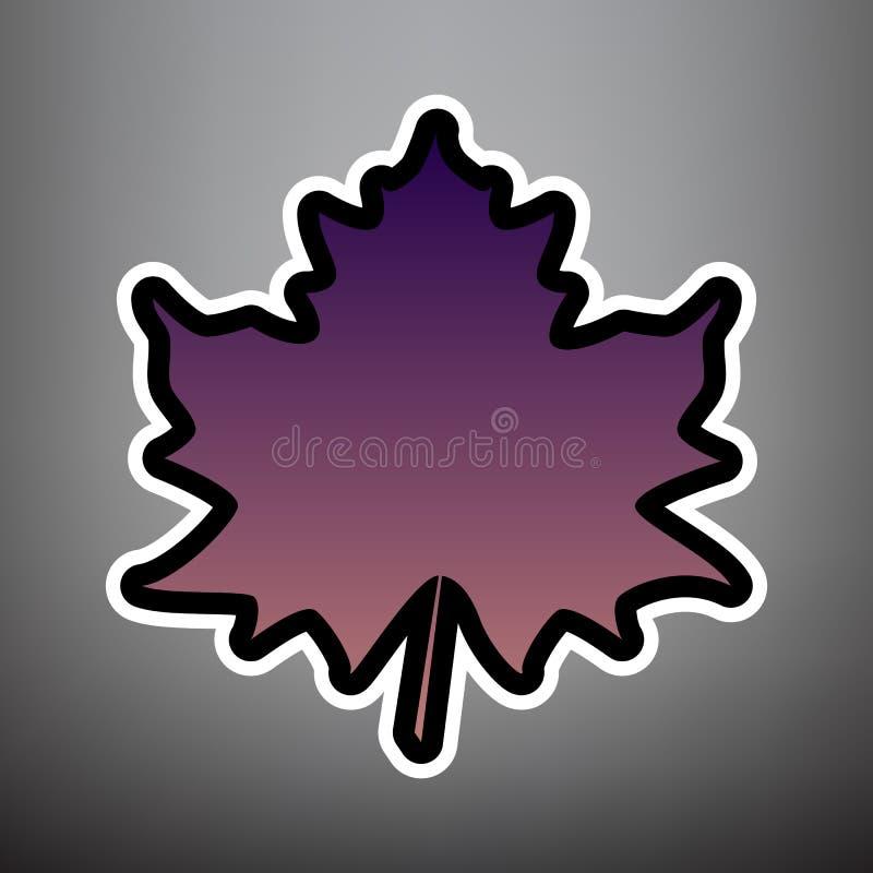 枫叶标志 向量 与黑色和whi的紫罗兰色梯度象 皇族释放例证