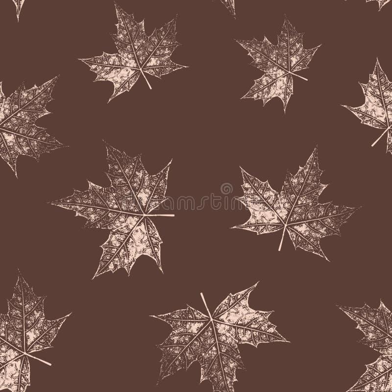 枫叶的无缝的样式,手工制造墨水印刷品 手打印的难看的东西叶子 r 向量例证