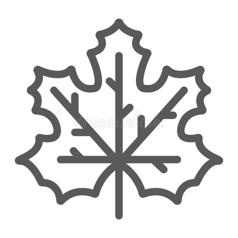 枫叶线象、加拿大和自然,秋天标志,向量图形,在白色背景的一个线性样式 皇族释放例证