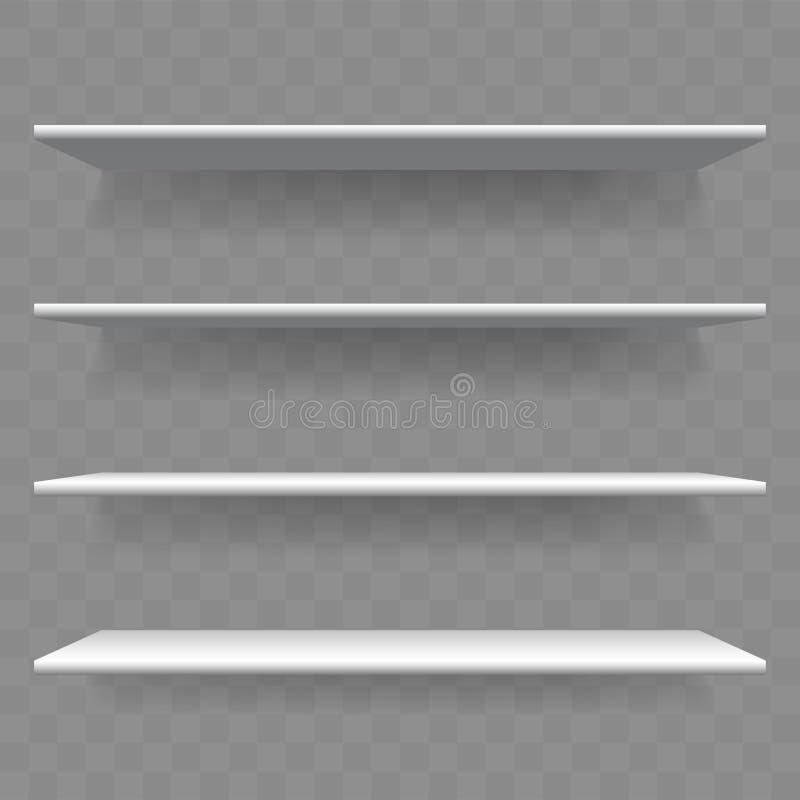 架子白色木空的3D传染媒介书架 库存例证