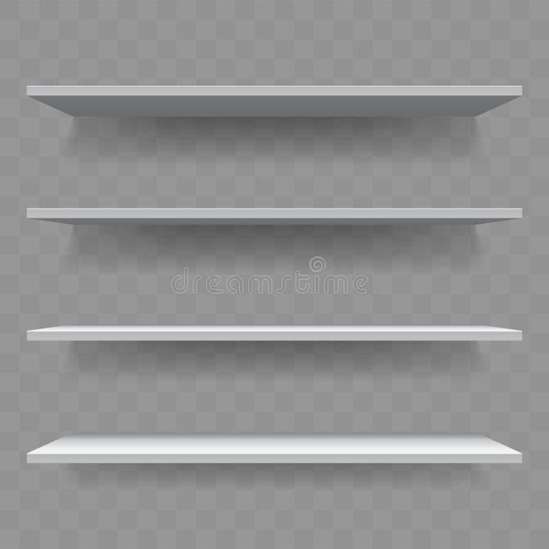 架子白色木空的3D传染媒介书架 向量例证