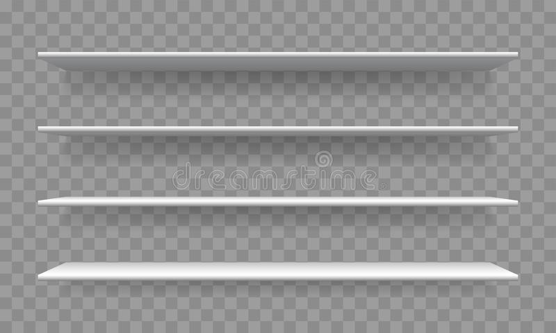 架子白色空白3D现实传染媒介书架 皇族释放例证