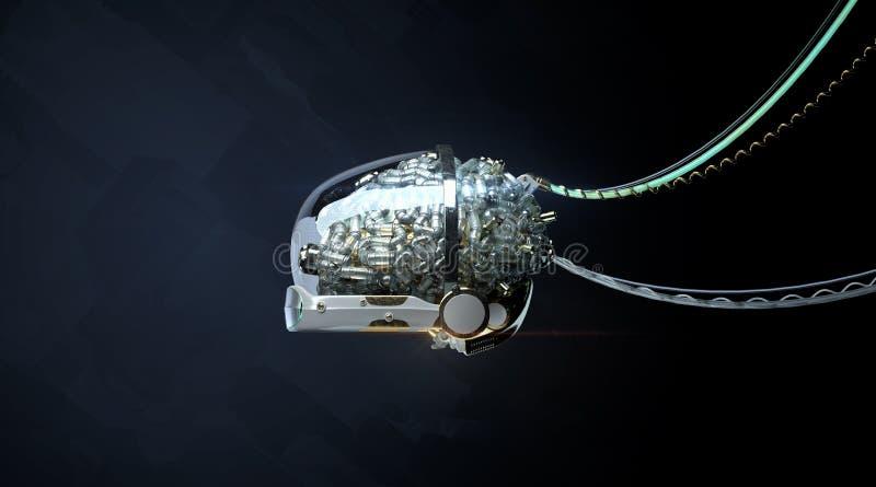 架线的光滑的机器人器官-脑子3d回报靠机械装置维持生命的人脑子3d例证生产神经网络机器学习 皇族释放例证