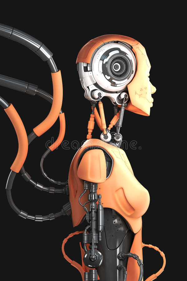 架线的机器人人 皇族释放例证