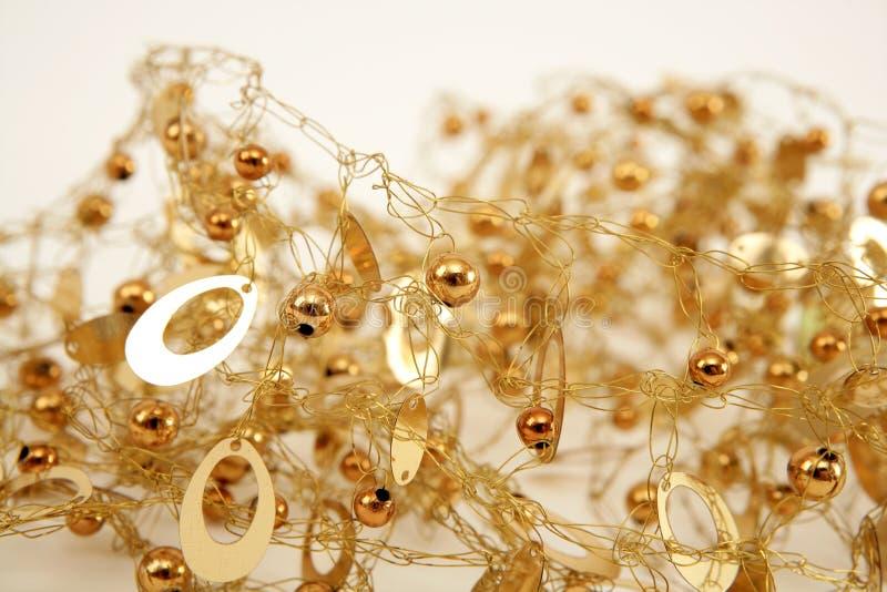 架线的球金黄珠宝杂乱卵形纹理 免版税库存图片