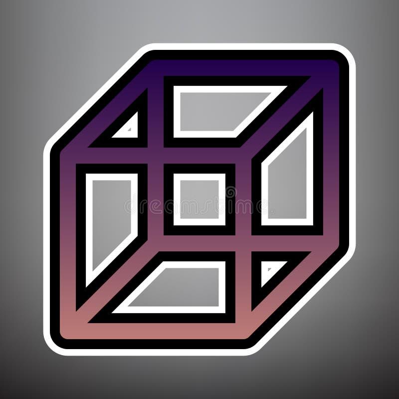 架线的立方体标志 向量 与黑色和whi的紫罗兰色梯度象 向量例证