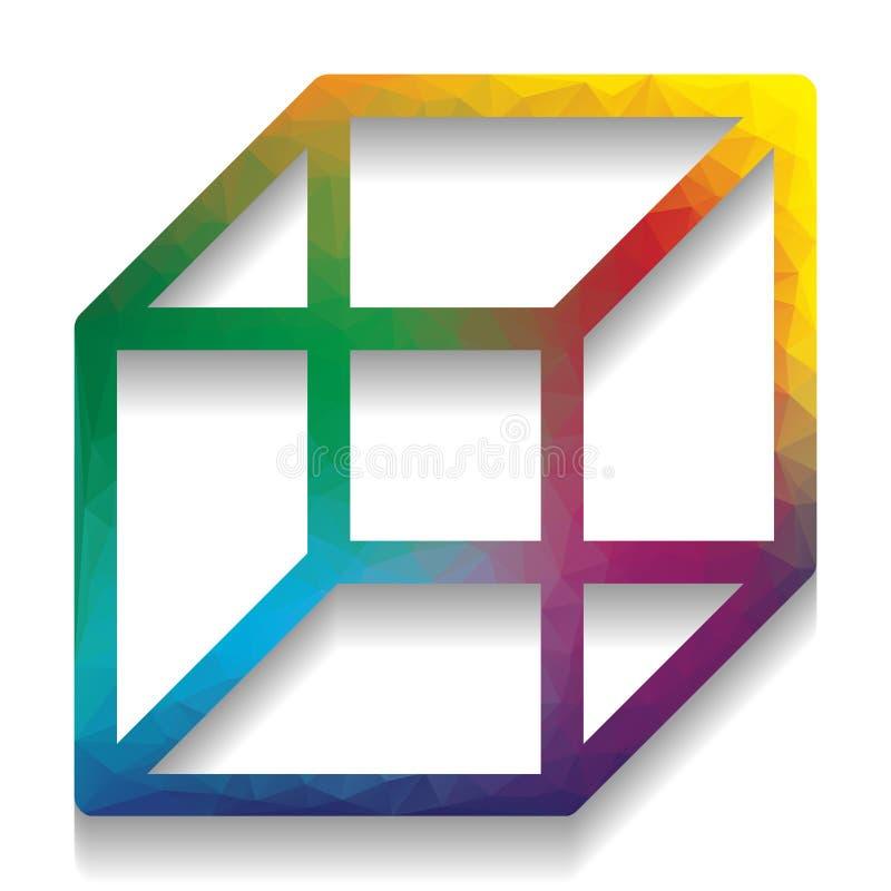 架线的立方体标志 向量 与mo明亮的纹理的五颜六色的象  皇族释放例证