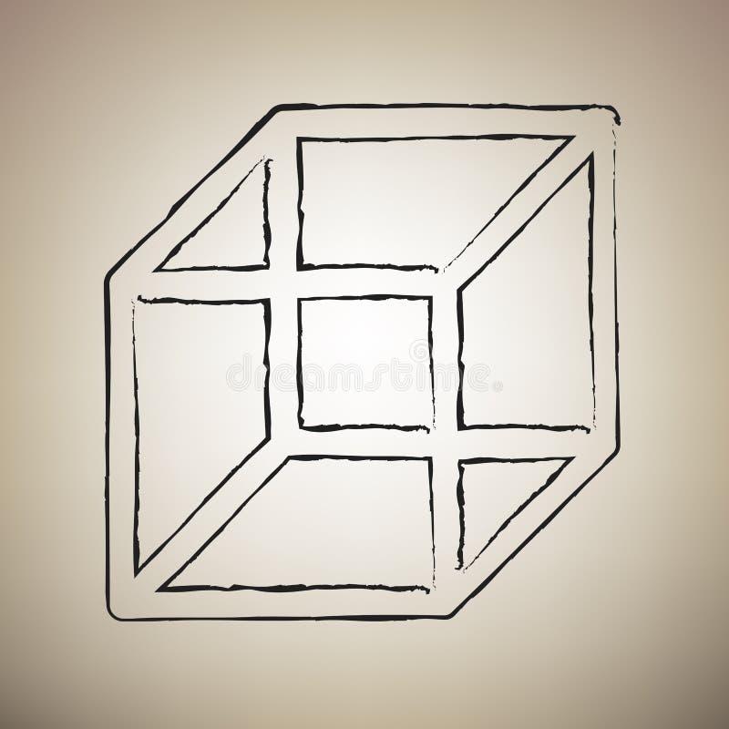 架线的立方体标志 向量 刷子在浅褐色的drawed黑象 皇族释放例证