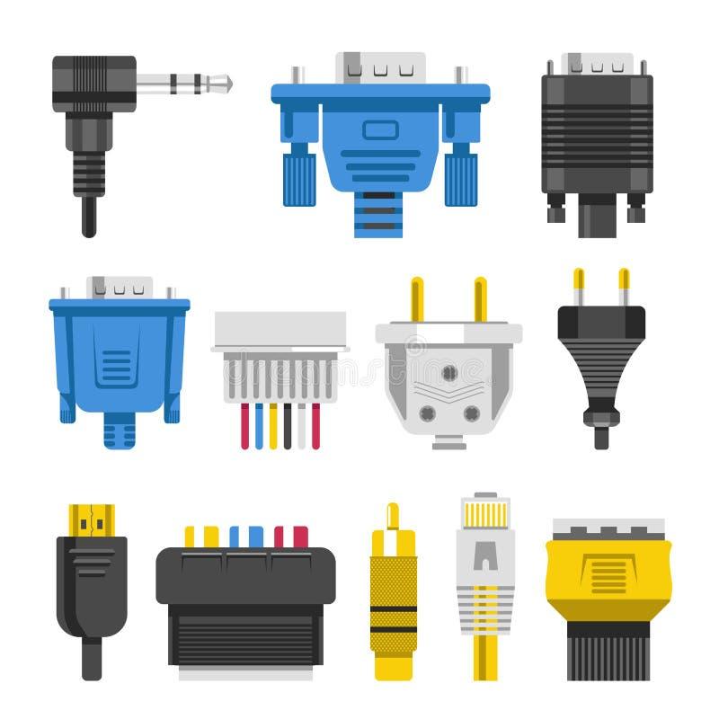 架线连接器和音频的缆绳或视频适配器或者插座 库存例证