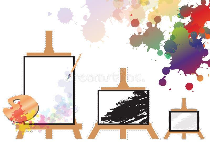 画架3大小,五颜六色的刷子显示 库存照片