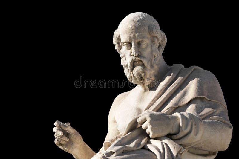 柏拉图经典雕象从旁边关闭的 库存图片