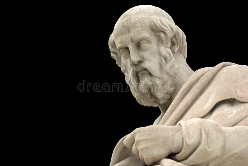 柏拉图经典雕象从旁边关闭的 免版税库存照片