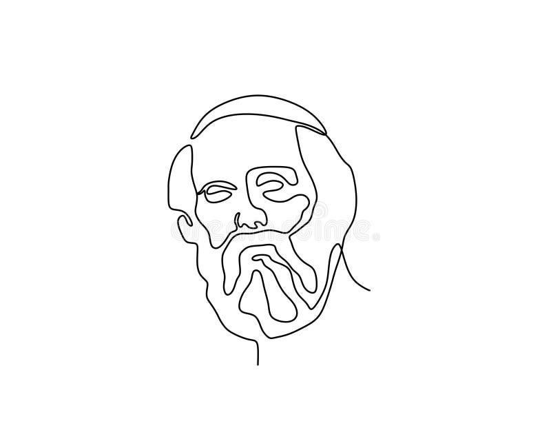 柏拉图连续的一与简单派样式传染媒介例证古老pholisopher形象标志的线描最低纲领派设计 皇族释放例证