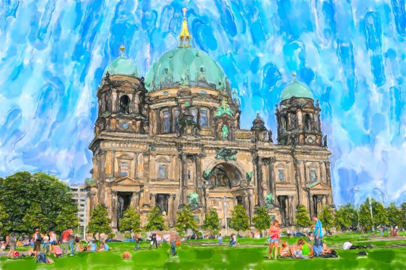 柏林主教座堂的水彩例证 休息在草甸的人们 柏林主教座堂在背景中 向量例证