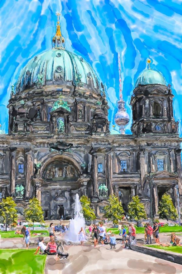 柏林主教座堂的水彩例证 休息在草甸的人们 柏林大教堂在背景中 库存例证