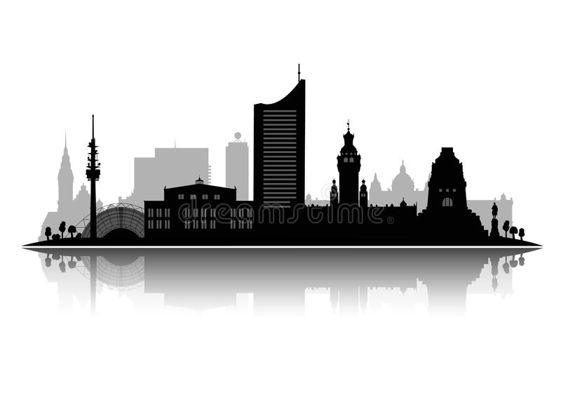 柏林剪影在与阴影3d传染媒介的白色背景隔绝的传染媒介例证 库存例证