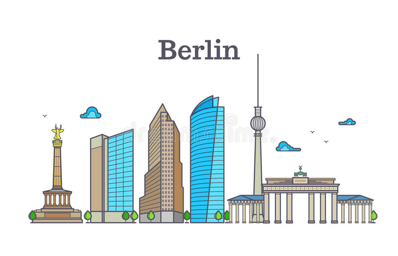 柏林剪影地平线全景,城市风景传染媒介例证 皇族释放例证