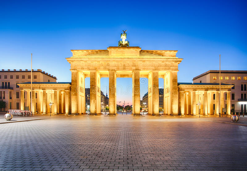 柏林勃兰登堡门,德语 库存图片