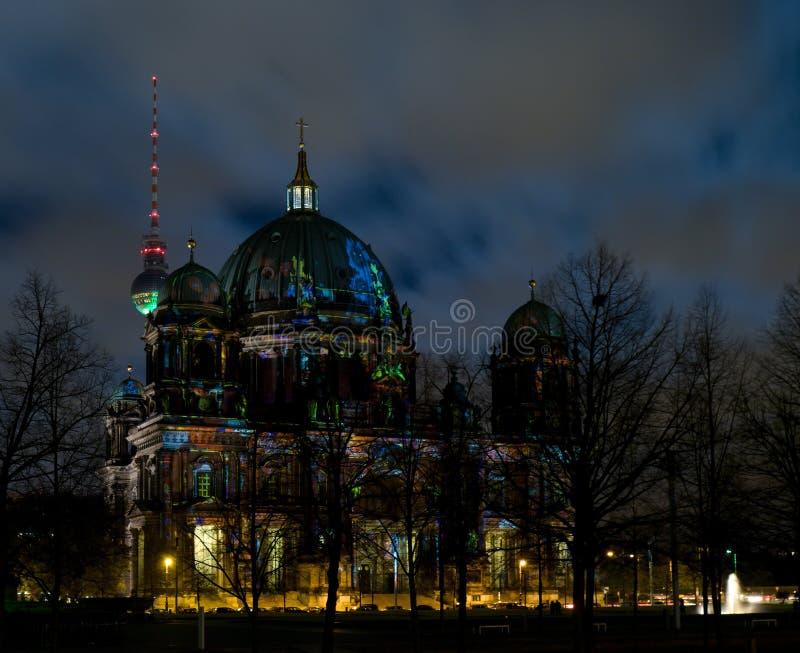柏林圆顶晚上 免版税图库摄影