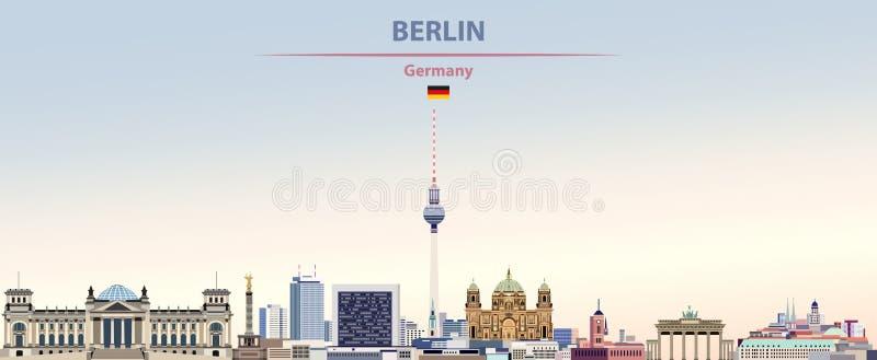 柏林在五颜六色的梯度好天气天空背景的市地平线的传染媒介例证与德国的旗子 库存例证