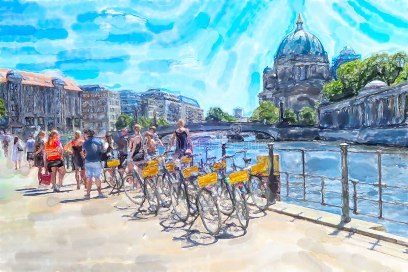 柏林的水彩例证 有自行车的人们在有柏林大教堂的狂欢河在背景中 库存例证