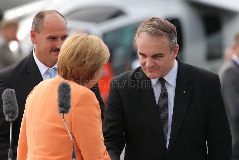 柏林- 9月11 : Angela Merkel和Waldemar Pawlak 免版税图库摄影